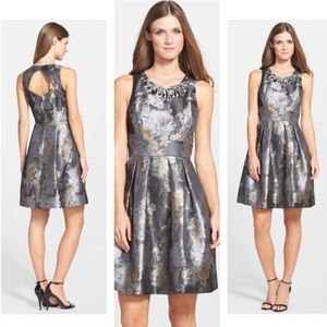 Eliza J Metallic Jacquard Beaded Neck Dress 6 NWT